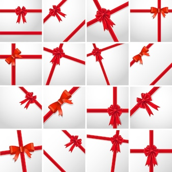 Gift ribbon red bow collection set. vector illustration