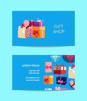 Gift service, shop business card template with gift boxes or packages.