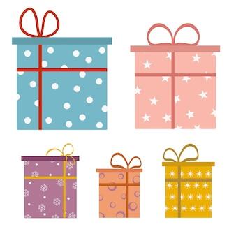 선물 세트, 깜짝 선물 상자, 생일 축 하, 벡터 아이콘, 평면 그림