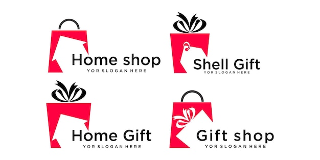 Gift shop icon set  logo design template