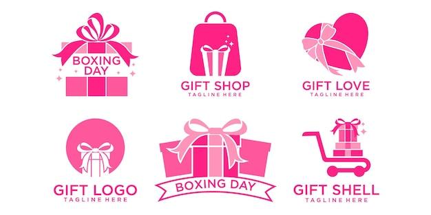 Gift shop icon set  logo  template design vector