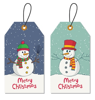Gift tag with christmas greeting and cartoon snowman