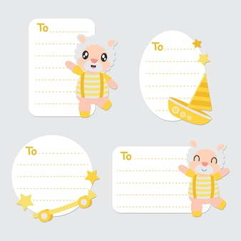 Gift tags of cute sheep boy and toys vector cartoon