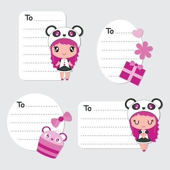 귀여운 팬더 소녀와 컵 케이크 만화 선물 태그