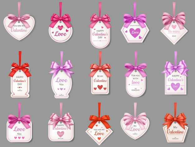 Gift tags with hearts and ribbons isolated