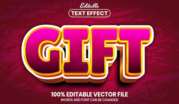 Gift text, font style editable text effect