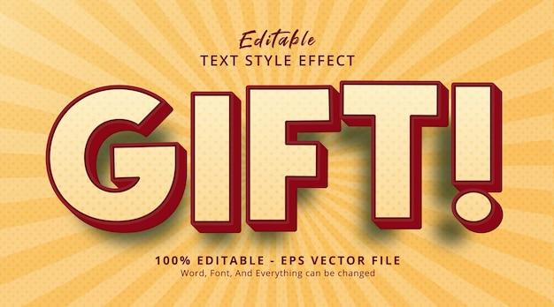 コミックスタイルの効果に関するギフトテキスト、編集可能なテキスト効果