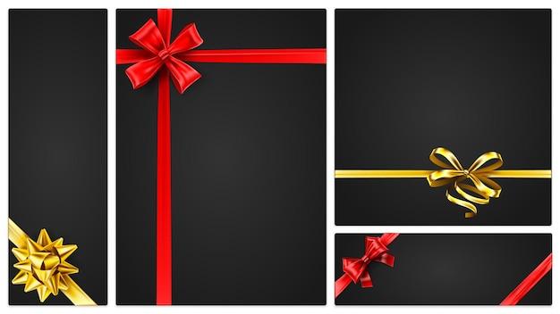 ギフト券、金色と赤のリボンが付いたバナーテンプレート。色付きの弓、招待状、現在のポスターとベクトルバナーとバウチャー