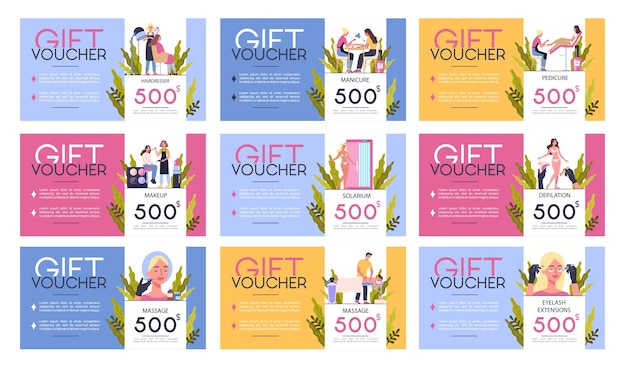 Gift voucher for beauty center concept. beauty salon voucher for diffrent procedure. massage, nail , make up, waxing, solarium, fillers. set of   illustration