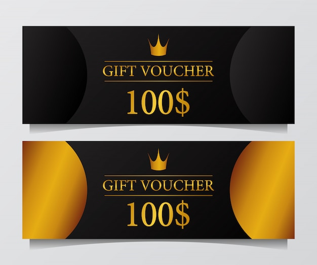 Gift voucher card coupon elegant modern with golden accent.