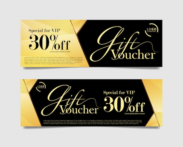 Gift voucher card gold and black color