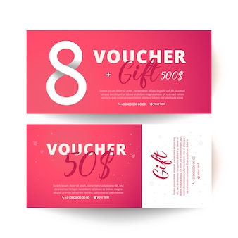 Gift voucher card set template. gift certificate