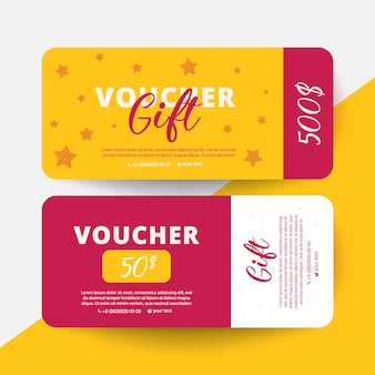 Gift voucher card set template with stars