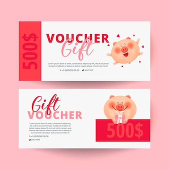 Gift voucher card with pig and  gift