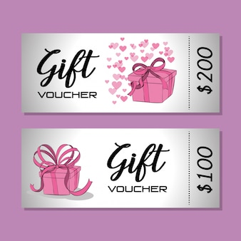 Gift voucher card with ribbon pink