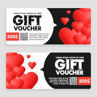 Gift voucher coupon discount for happy valentine's day celebration with holiday hearts symbols.