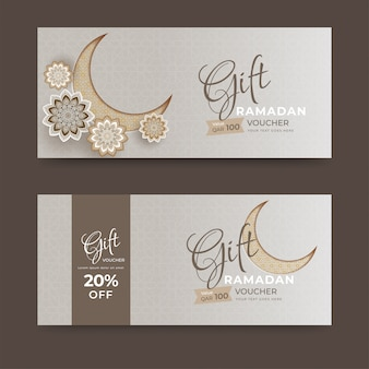 Gift voucher or coupon layout collection with crescent moon and