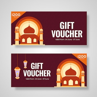 Gift voucher or coupon layout collection with mosque illustratio