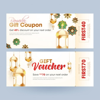 Gift voucher or coupon of ramadan with different discount offer