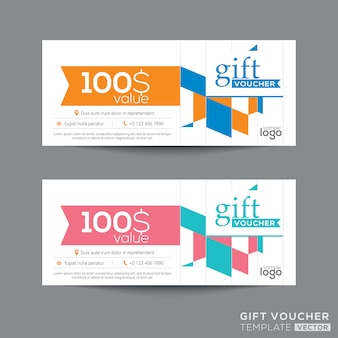 Gift voucher coupon template with colorful quadrangle