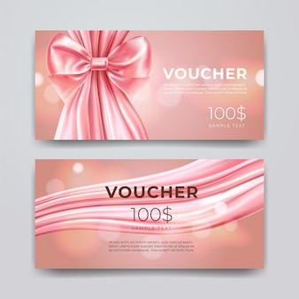 Gift voucher design template. set of premium promotional card with realistic pink bow and silk isolated on bokeh background. discount certificates, coupon or leaflet.