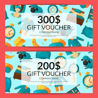 Gift voucher or discount card template of set with cartoon sleep elements illustration