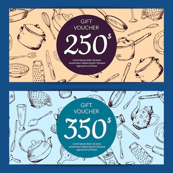 Gift voucher or discount card template with hand drawn kitchen utensils