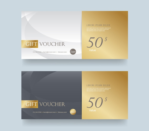 Gift voucher discount template with luxury pattern