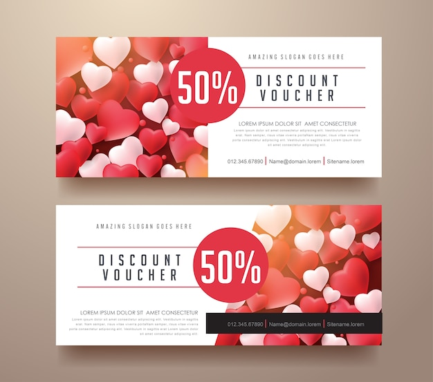 Gift voucher discount template with valentines day background