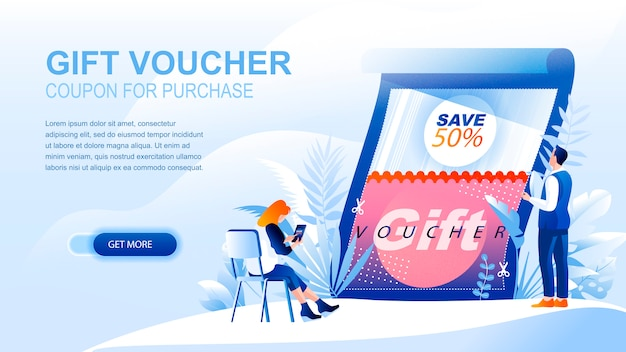 Gift voucher flat landing page with header, banner  template.