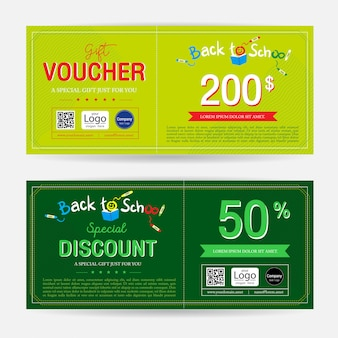Gift voucher or gift coupon for back to school season