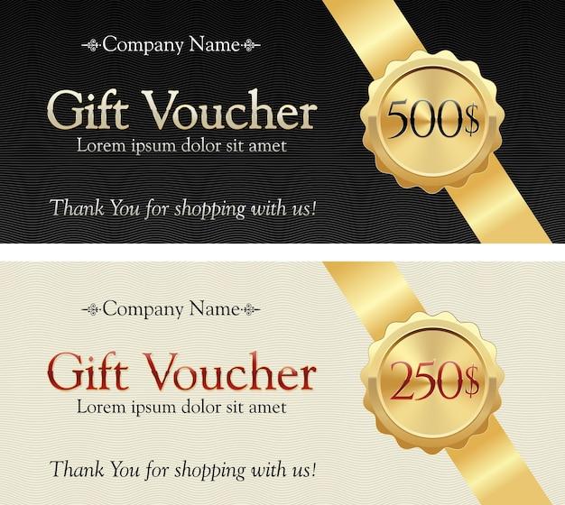 Подарочный сертификат. золотая лента на элегантном фоне. значок с подарочной стоимостью.