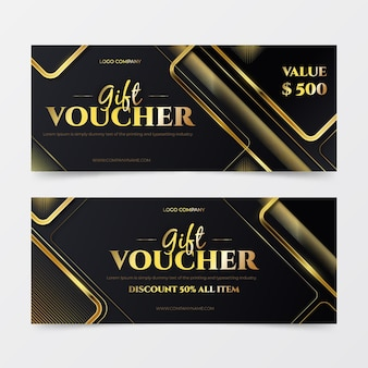 Gift voucher golden templates pack