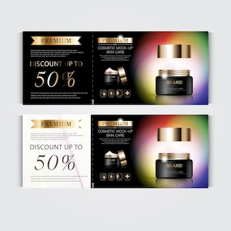 Gift voucher hydrating facial cream for annual sale or festival sale black and gold cream mask