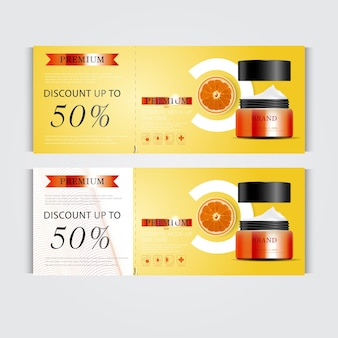Gift voucher hydrating facial cream for annual sale or festival sale silver and orange cream mask