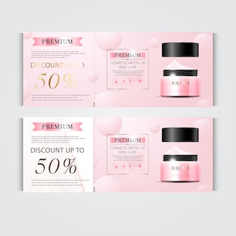 Gift voucher hydrating facial cream for annual sale or festival sale silver and pink cream mask
