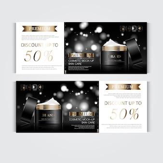 연간 판매 또는 축제 판매를 위한 상품권 수화 페이셜 크림 블랙 및 골드 크림 마스크.