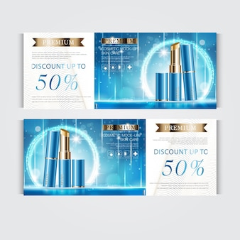 Gift voucher hydrating facial lipstick for annual sale or festival sale. blue and gold lipstick mask bottle isolated on glitter particles background. banner graceful cosmetic ads, illustration.