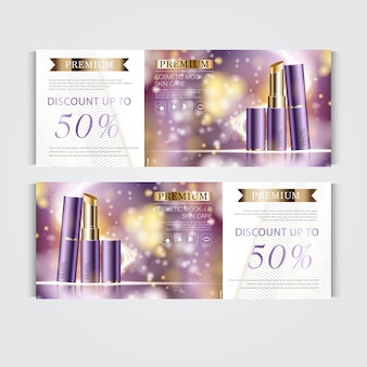 Gift voucher hydrating facial lipstick for annual sale or festival sale. purple and gold lipstick mask bottle isolated on glitter particles background. banner graceful cosmetic ads, illustration.