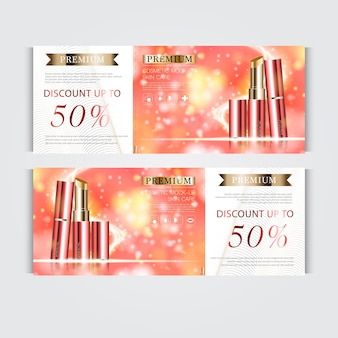 Gift voucher hydrating facial lipstick for annual sale or festival sale. red and gold lipstick mask bottle isolated on glitter particles background. banner graceful cosmetic ads, illustration.