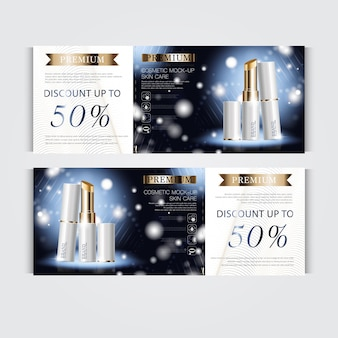 Gift voucher hydrating facial lipstick for annual sale or festival sale. white and gold lipstick mask bottle isolated on glitter particles background. banner graceful cosmetic ads, illustration.