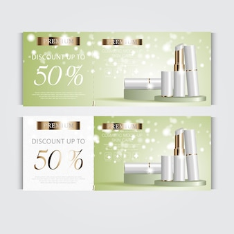 Gift voucher hydrating facial lipstick for annual sale or festival sale white and gold lipstick