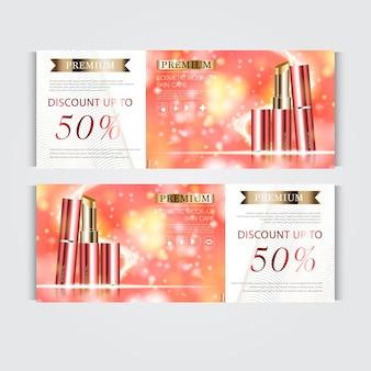 毎年恒例の販売またはお祭りの販売のための顔の口紅を水和するギフト券。キラキラ粒子の背景に分離された赤と金の口紅マスクボトル。バナー優雅な化粧品の広告、イラスト。