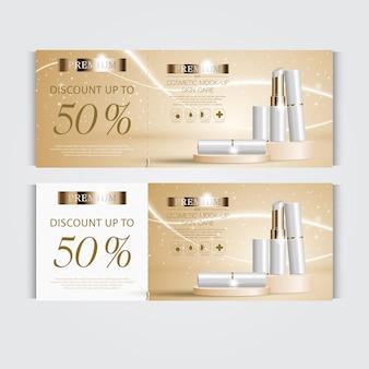 毎年恒例の販売またはフェスティバルセールの白と金の口紅のためのギフト券保湿フェイシャルリップスティック