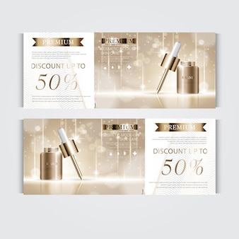 Gift voucher hydrating facial serum for annual sale or festival sale. brown and gold serum mask bottle isolated on glitter particles background. banner graceful cosmetic ads, illustration.