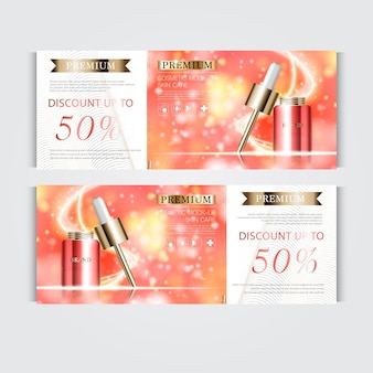 Gift voucher hydrating facial serum for annual sale or festival sale. red and gold serum mask bottle isolated on glitter particles background. banner graceful cosmetic ads, illustration.