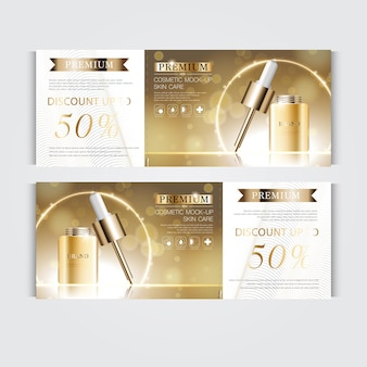 Gift voucher hydrating facial serum for annual sale or festival sale. silver and gold serum mask bottle isolated on glitter particles background. banner graceful cosmetic ads, illustration.