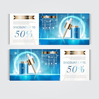 毎年恒例の販売またはお祭りの販売のための顔の血清を水和するギフト券。キラキラ粒子の背景に分離された青と金の血清マスクボトル。バナー優雅な化粧品の広告、イラスト。