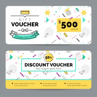 Gift voucher kids with geometric shapes