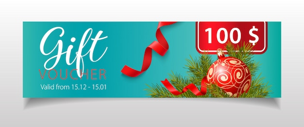 Gift voucher lettering with christmas bauble and fir-tree twigs
